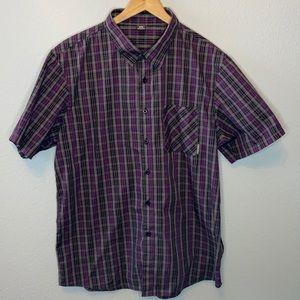 Oakley Purple Grey Short Sleeve Button Down XL